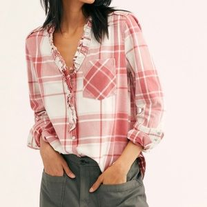 NWT Free People Always Forever Plaid Shirt